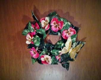 Handmade Spring Wreath - Pink Pansy Flowers with Dark Green & White Ivy, Large Gold Butterfly - Stick Wreath