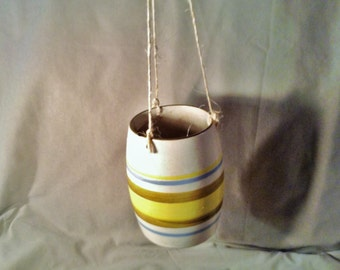 Ceramic Cylinder Hanging Planter - Yellow, Blue, & Brown Stripes - Twine Strings