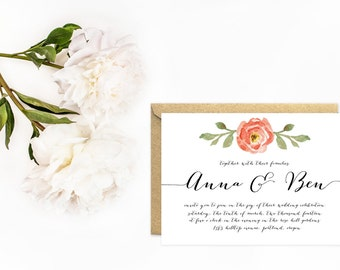 Watercolor Wedding Invitations, Hand Lettered Calligraphy Font