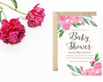 Baby Shower Invitation, Pink Baby Shower, Flower Invitation, Girl Baby Shower Invitations