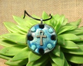 Onyx and Turquoise Orgonite Pendant -  Handmade Healing Jewellery- Orgone Necklace - Large