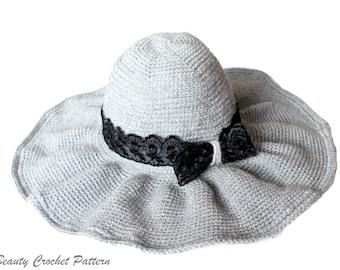 Crochet Brim Hat Pattern, Wide Brim Hat Pattern, Floppy Hat Pattern, Vintage Hat Pattern, Women Hat Pattern