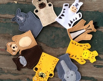 Safari Animals - Adult, Kid, AND Finger Puppet Sizes - Sold Individually or as a Set
