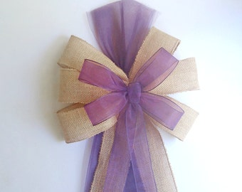 Plum Eggplant Pew Bows- Burlap-Wedding Decorations-Chair
