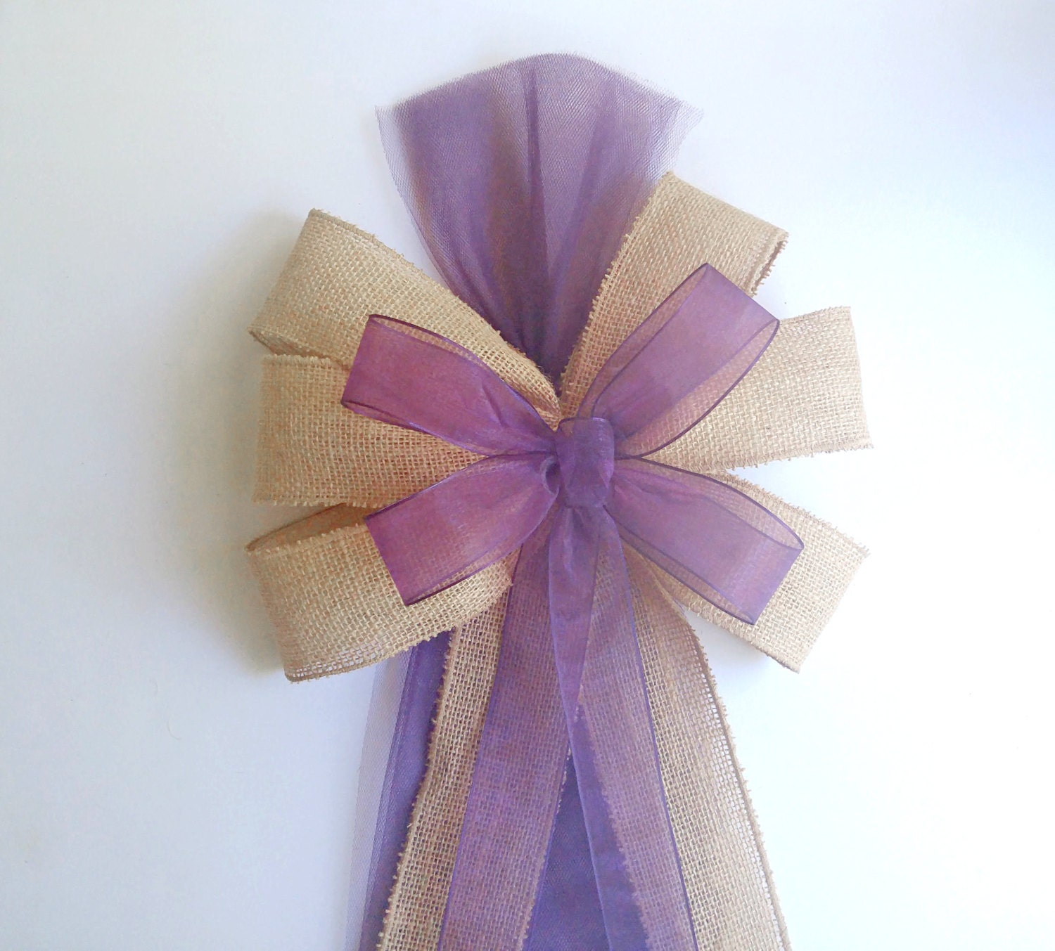 Plum Eggplant Pew Bows Burlap Wedding Decorations Chair