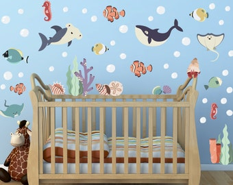 Ocean Theme Decal Sea Creatures Wall Decals Fish Decals