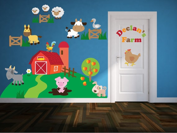 Farm wall decals name wall decal farm animal wall art for Barnyard wall mural
