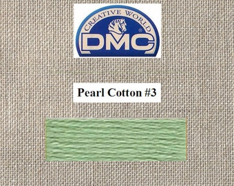 DMC Pearl 3 - Light Pistachio Green - Color 368 - 15 Meters - By the Skein
