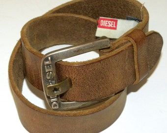 "1990s 90s Belt / Diesel / Leather Belt / 1.25"" wide / brown / made Italy / XX-Small to X-Small / Vintage size 59/23"