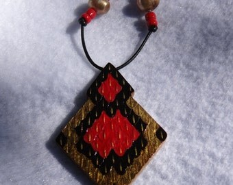 Gold, Red and Black Snake Textured Necklace