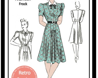 1940s Tea Dress Sewing Pattern -  PDF Full Size Sewing Pattern - Instant Download -40s Wartime Dress Pattern