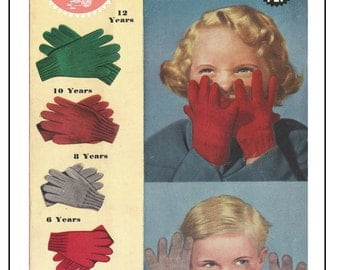 Children's Gloves 1940/50's Vintage Knitting Pattern  - PDF Knitting Pattern - Instant Download