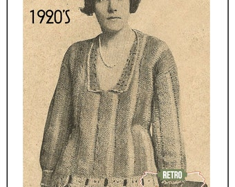 1920s Sweater with Crochet Trimming  – PDF Knitting Pattern - Instant Download