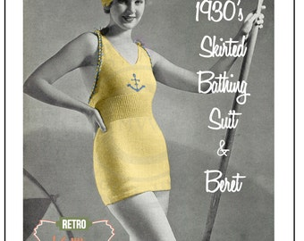 1930's Bathing Suit and Beret Knitting Pattern - Instant Download - PDF Instant Download - PDF Knitting Pattern