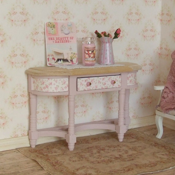 reduced dollhouse miniature pink half table sideboard. Black Bedroom Furniture Sets. Home Design Ideas