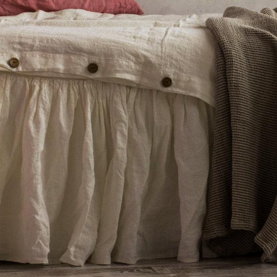 linen bed skirt dust ruffle full size antique by lenoklinencom. Black Bedroom Furniture Sets. Home Design Ideas