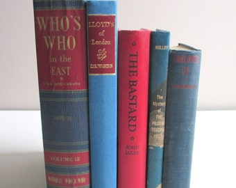 Red and Blue Instant Library. Collection of Vintage Books for the Adventurous Reader or Clever Stylist.