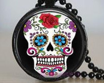 Day of the Dead Skull 30mm  Pendant Necklace with Glass Dome and Beaded Chain