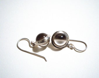 Pools of light Earrings, Sterling Silver, Undrilled Quartz Sphere, Crystal Ball, Port Hole Lens, Art Deco Victorian, Made to Order