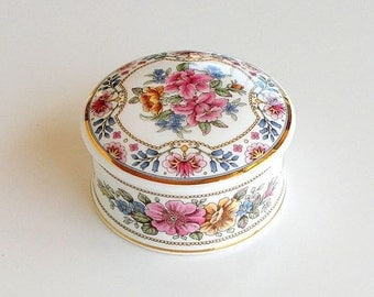 English Bone China Pink Floral Chinacraft London Floral Porcelain Box, Dresser Trinket Box, Cottage Chic, Shabby Lidded Jewelry Box Dressing