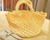 100% Handmade Raffia Tote Bag - Beige Colour