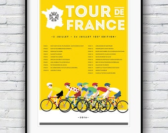 Tour De France Poster, Gifts for Cyclists, Cycling Print, Cycling Poster, Tour De France Print, Bike Poster, Bike Racing