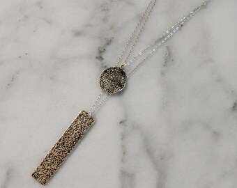 Double Pendant Necklace | Layered Necklace | Pendant Necklace | Silver Pendant Layered Pendant Silver Double Necklace Long Pendant Necklace