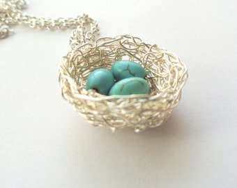 1,2,3 birds nest pendant,mom of two,mom of three,personalised birds nest pendant, nature jewelry,turquoise necklace, turquoise jewelry,