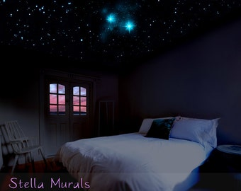 Second Star to the Right and Straight on till Morning | Glow in the Dark Star Ceiling | Peel and Stick Decal + 200 - 1000 Star Stickers