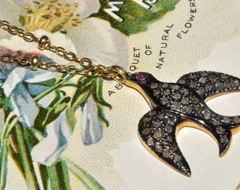 Pave Diamond Bird Necklace Sterling Silver Soaring Bird Pendant on Gold Filled Chain