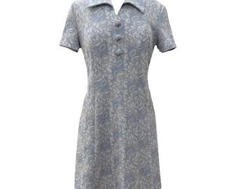 1960s blue vintage shift dress