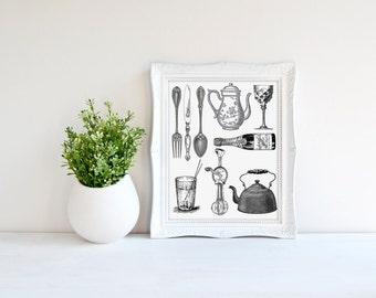 Minimalist Kitchen Print Wooden Utensils By Samssimpledecor