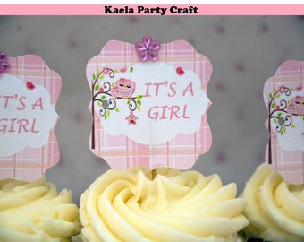 Owl cupcake toppers. Owl baby shower. Owl baby shower decorations. Owl theme baby shower Owl baby shower favors. Owl baby shower banner