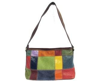 Vintage Checkered Leather Handbag Wilson Leather Bag Colorful Leather Patchwork Shoulder Bag Chic Hobo