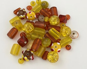 50 glass beads yellow orange  mix #PV 141