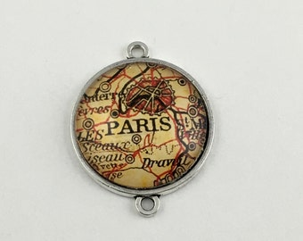 1 Paris map connector,glass and bronze tone,35mm #CON 218