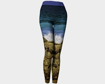 Womens Ocean Waves Leggings, Tropical Artwear, Rocks Ocean Waves Leggings, Outerwear Spandex Leggings,blue,green,golden rocks s-m,l,xl