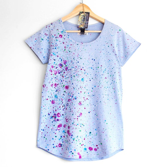 ROSES and VIOLETS. T shirt for woman or girl. Hand painted tee. Unique ladies t shirts. Blue and Floral.