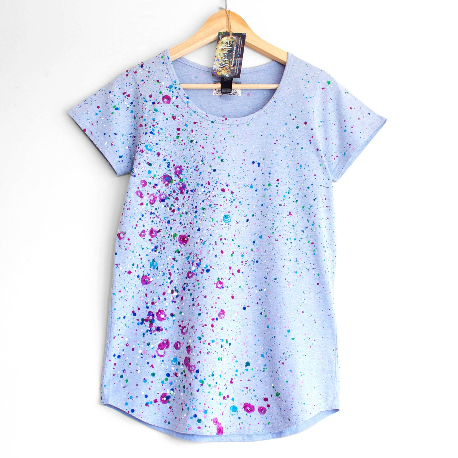 Roses and violets t shirt for woman or girl hand painted for Full hand t shirts for womens