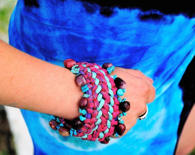 Featured listing image: Paracord Bracelet with Turquoise and Mookaite, Chunky Pink Bracelet, Handmade Paracord with Stones, Healing Energy Bracelet, Pink and Teal