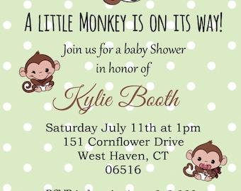 Monkey Themed Baby Shower  Invitation 4x6 Printable DIY