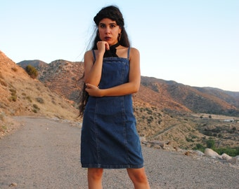 90s Vintage. Denim. Spaghetti Strap. Fitted Dress