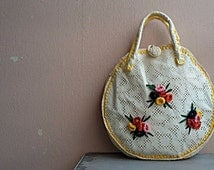 Vintage Raffia Bag - Flower Bouquet - Round Shape Bag