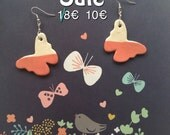 Earrings in white clay pendants in the shape of butterfly 4 colors