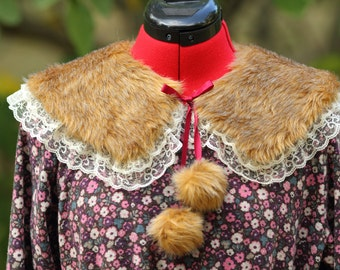 Fur Collar with Lace and Pom Poms [ Mori Girl Style ] Ready to ship!