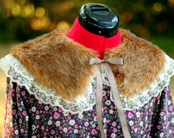 Fur Collar with Lace and Gingham Ribbon [ Mori Girl Style ]