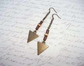 Antique bronze triangle earring with wood beads