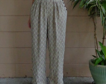 Vintage Pleated Trouser Pants / Wide Led / Silk / High Waisted /  Large