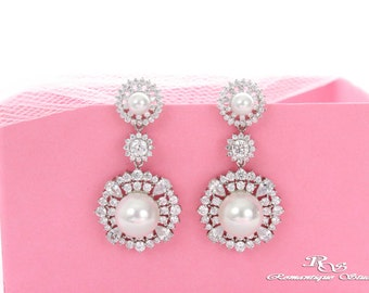 Pearl Crystal bridal earings vintage style long wedding earrings Pearl statement earrings wedding jewelry bridal jewelry  1397