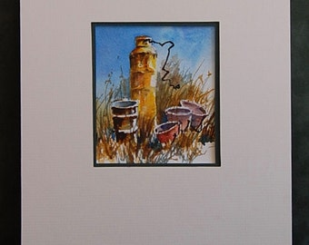 """Original Watercor Painting -  """"Lonely Sentinel""""  - Industrial Items on Acid Free Paper"""